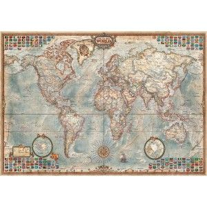 A world map with a classy vintage edge shows the world with an impressive array of cartographic detail as well as quite a few flags from nations around the globe. Educa puzzles are known around the world for their quality standards, using green & blue boards which create exact piece fits and greatly reduces puzzle dust. As well, every Educa puzzle between 500 and 2000 pieces includes puzzle glue for preserving your success, and a Puzzle Piece Replacement Guarantee through which they replace…