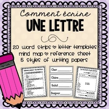 **BUNDLE UP and SAVE 25%**Check out my French Writing Series!Ready to spice up your current Writing program? This Letter Writing product is sure to do the trick!Here's what you get:- 5 letter templates, perfect for guided writing/scaffolding- Mind Map - Student reference sheet with sentence starters- 10 printable writing papers/organizers - (5 styles of writing papers available in 2 templates for differentiation)- 20 word wall strips (includes 4 blank strips)*See PREVIEW!Like this product?
