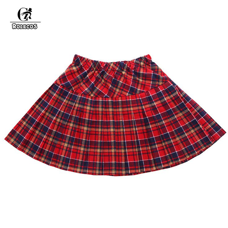ROLECOS Hot Sale Red Gray Blue Black Pleated Skirt School Uniform Casual Plaid Skirts Plus Size