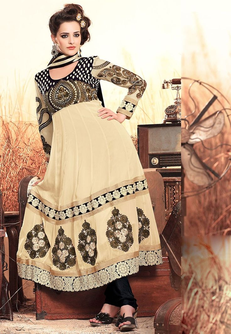 """We loved with a #love that was more than love."" Cream #Color Georgette Designer #Salwar Kameez"