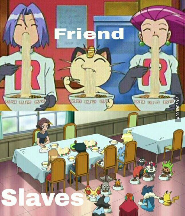 Ash and his friends (not for long tho bc he LEAVES HIS FRIENDS after each region..) are so rude to their pokémon and use them for battles only and ignore them and treat them like pets :( but Team Rocket cares for their pokémon and they talk to them, and they trust Meowth so much he doesnt need a pokéball :) jame's tears made a pokémon evolve! jessie loved her dustox so much she let it be with the boy dustox and Meowth cared for the Togepi and treated it like a baby until Misty had to steal…