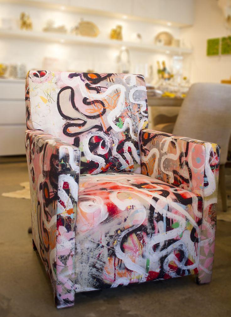 Pierre Frey Street Diptych Fabric Graffiti Chair. Custom by Vanillawood.
