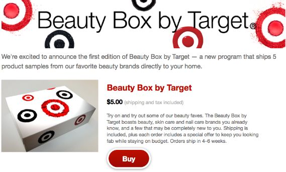 Target Launches First Beauty Box - $5 For 5 Premium Samples