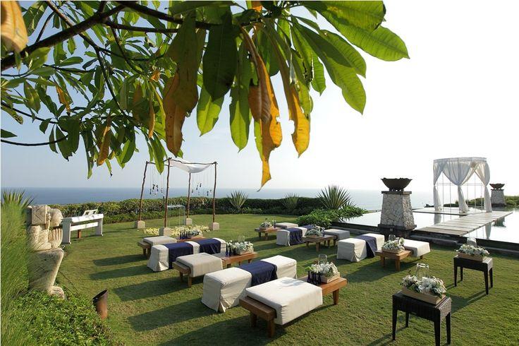 Ceremony at cliff top garden Tirtha Luhur by Tirtha Bridal Uluwatu Bali #outside #garden #wedding