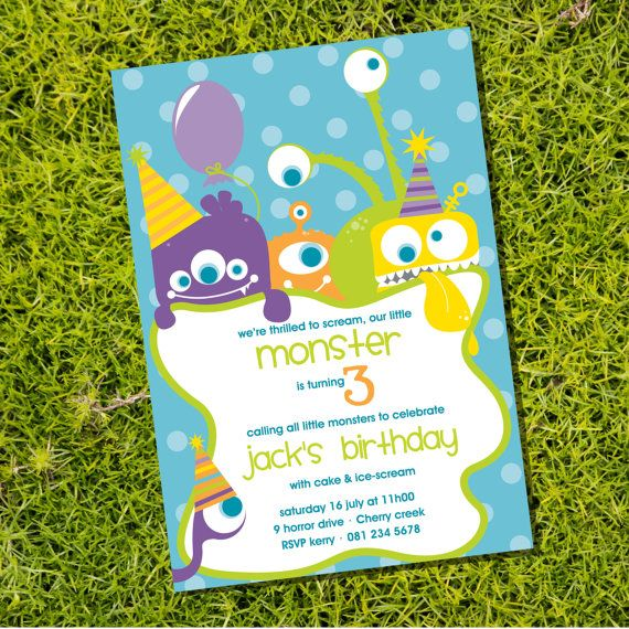 Friendly Monster Party Invitation - Cute Monsters - Instantly Downloadable and Editable File - Personalize at home with Adobe Reader via Etsy