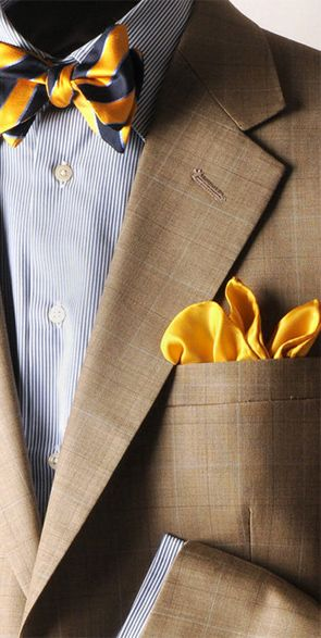 Tan jacket, white shirt with blue dress stripes, navy/gold bow tie