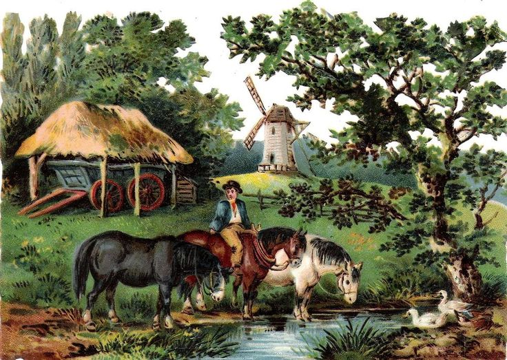 Oblaten Glanzbild scrap die cut chromo Wind Mühle mill 17cm landscape Landschaft