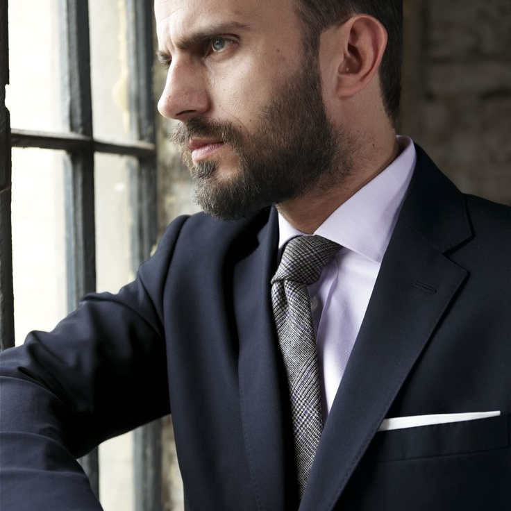 grey suit lilac shirt wool tie pocket square done