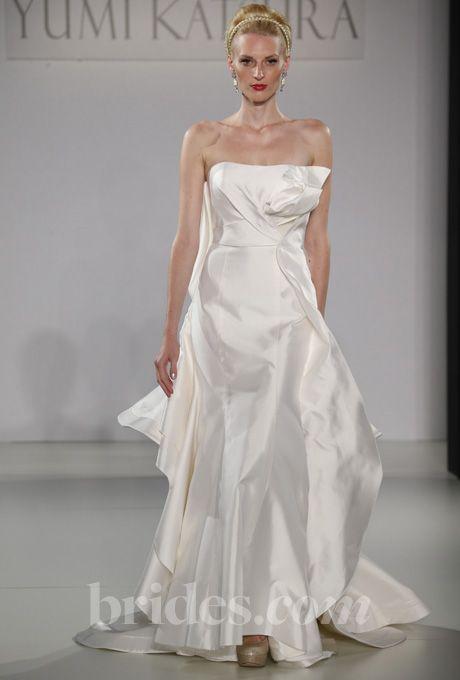"""Sendai"" Yumi Katsura Wedding Dress Fall 2013 - Strapless Origami-Inspired Silk A-Line Gown. Size 10, Fondant"