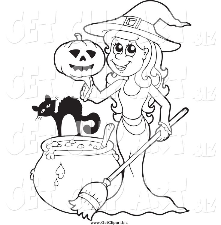 Free witch hat and cauldron printable coloring page