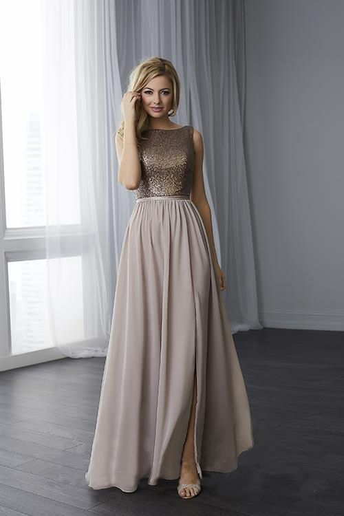 3613d84925f55 This Christina Wu 22783 sleeveless bridesmaid dress features a fully  sequined bodice over a slit chiffon skirt