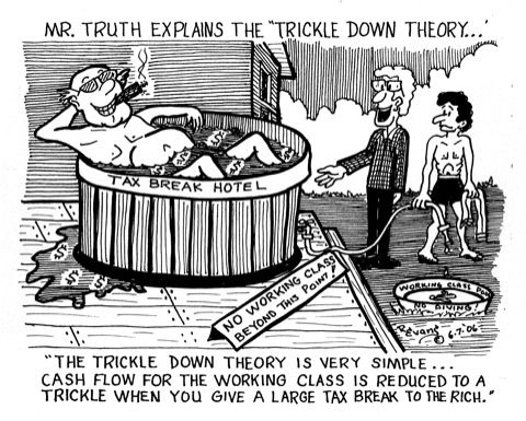 The trickle-down economics theory.