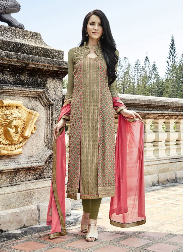 Green Embroidered Georgette Churidar Designer Suit