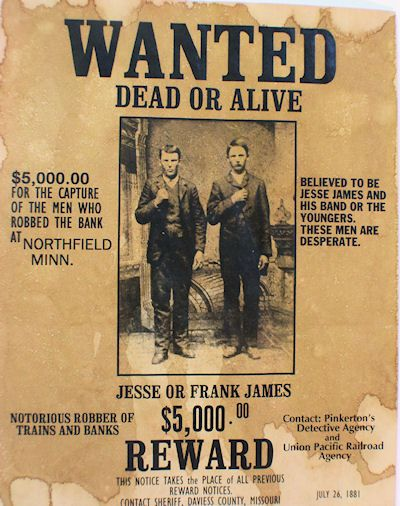 Frank or Jesse James Wanted Dead or Alive Poster