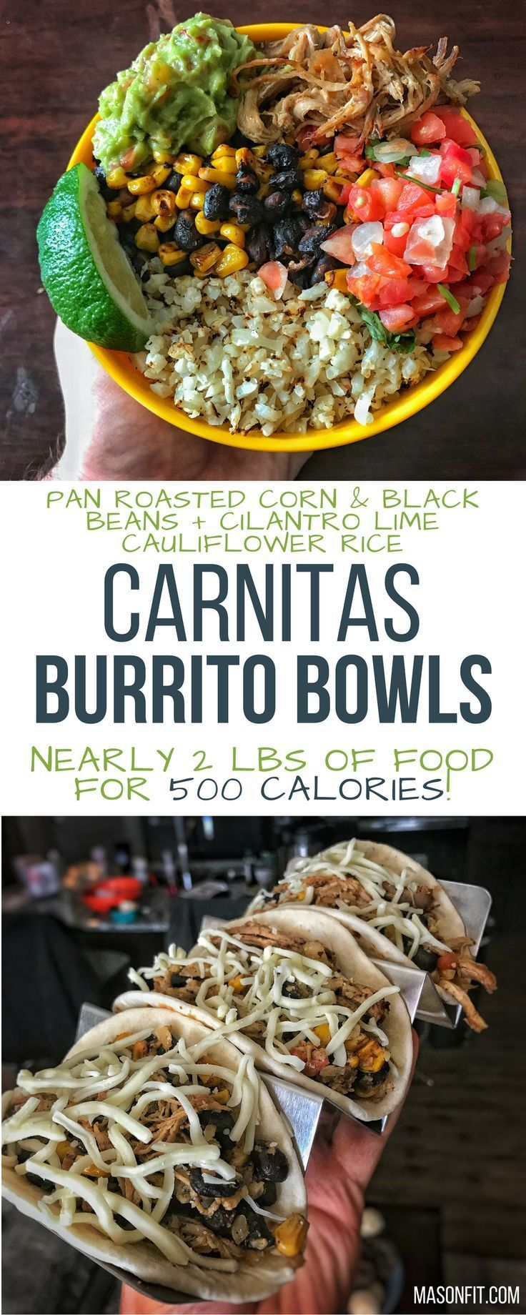 If you struggle with hunger or a big appetite when eating a healthy diet, you'll love this recipe. Weighing in at nearly two pounds, the cilantro lime cauliflower rice and pan roasted corn and beans provide a ton of delicious volume. While the crispy carn