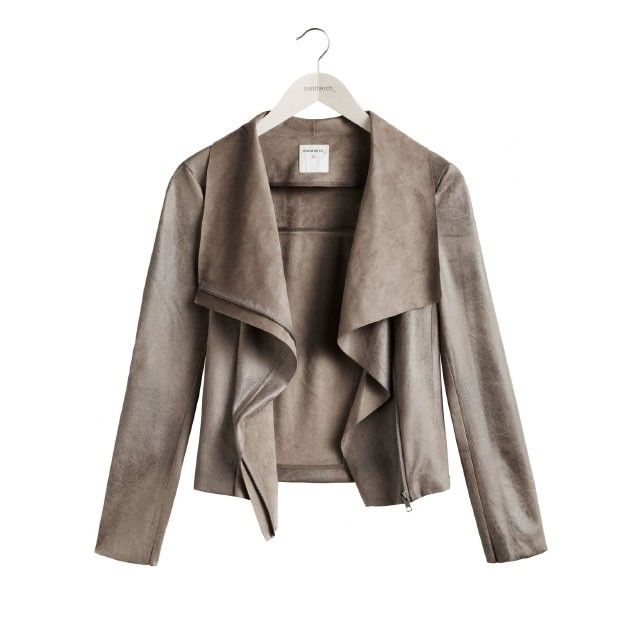 Sandwich Clothing Soft Structured Biker Jacket Taupe