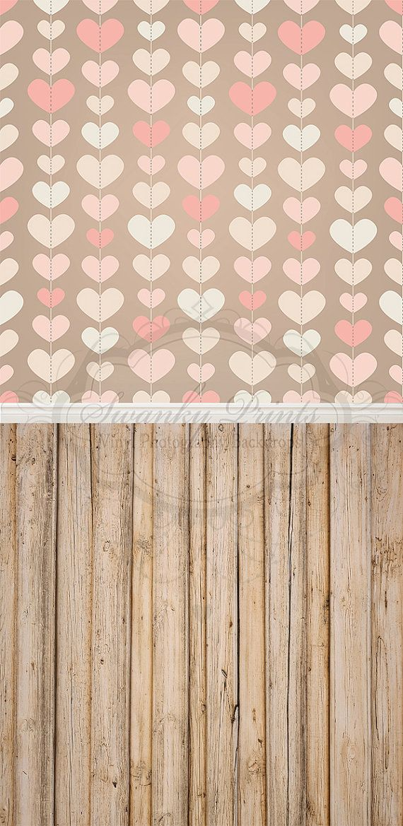 Valentines Pink Hearts & Light Wood - Oz Backdrops and Props