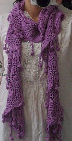 Кружевной шарф с резным краем | Рукоделие и вязание
