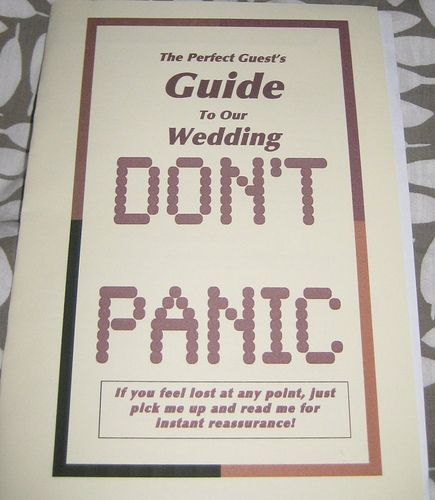Donu0027t Panic! Make Sure You Have Your Hitchhikeru0027s Guide To The Galaxy  Programs. Funny Wedding ...