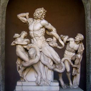 The sculpture of Laocoön and his sons
