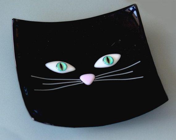 Black Cat Bowl by FusedGlassMenagerie on Etsy, $30.00