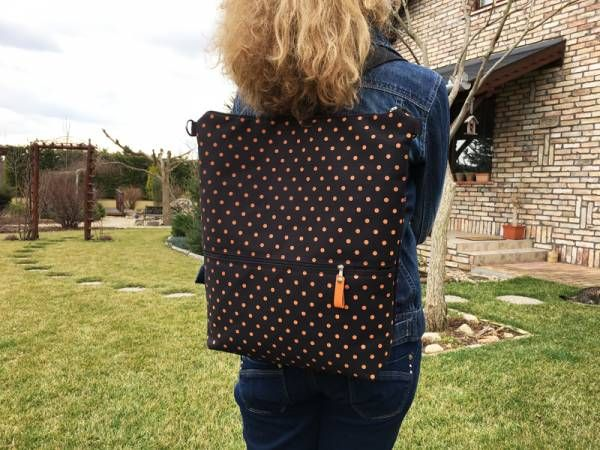 Handmade Canvas Backpack - Mustard Polka dots Design