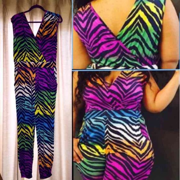 """Plus Size Multicolor Animal Print Jumper ***Size 1X  comparable to Size 14/16*** Like new condition.  Approx 27"""" inseam. Pants Jumpsuits & Rompers"""