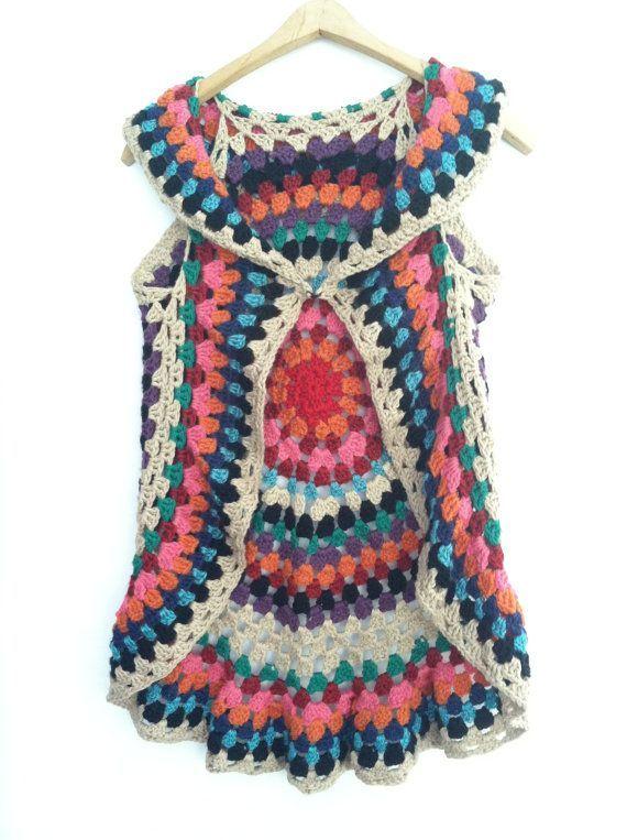 Free Crochet Mandala Vest Pattern   Crochet PATTERN for Women's Mandala Vest on Etsy, $6.00