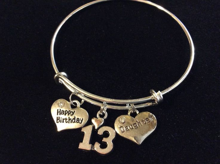 Daughter Happy Birthday 13th Expandable Charm Bracelet Adjustable Bangle Trendy Gift (Other Numbers Available)