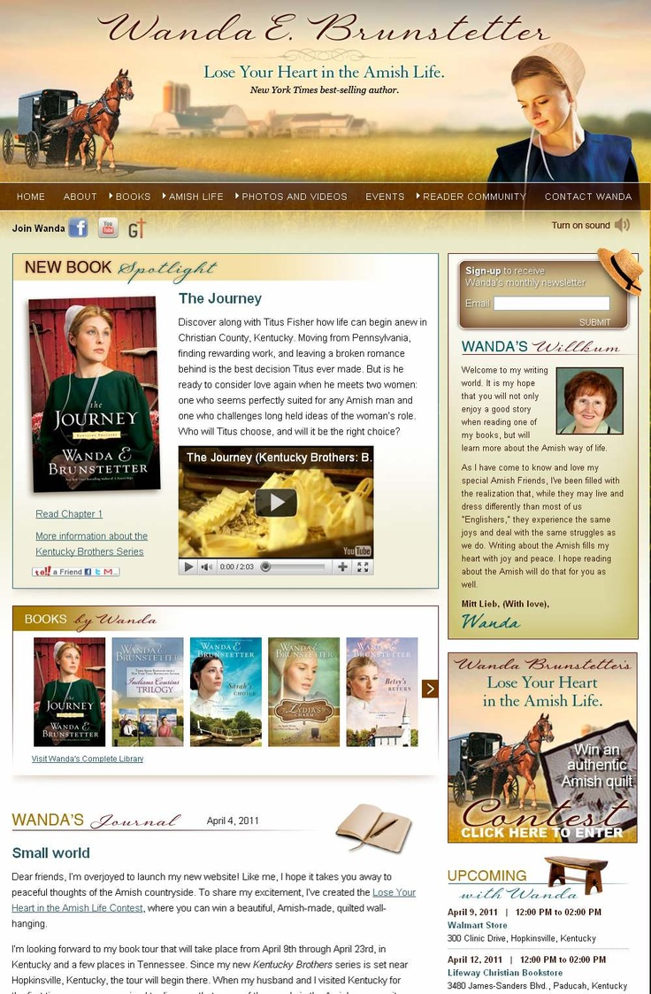 New website created for New York Times bestselling novelist, Wanda Brunstetter. This website helped Wanda increase and maintain her online traffic by over 30%. http://www.WandaBrunstetter.com
