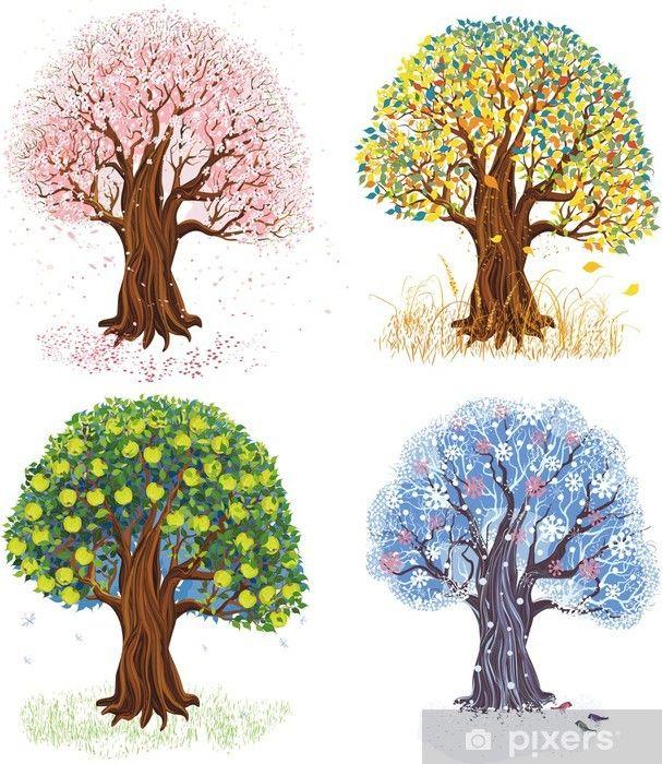 Fototapete Apfelbaum In Vier Jahreszeiten Pixers Wir Leben Um Zu Verandern Tree Drawing Mural Christian Paintings