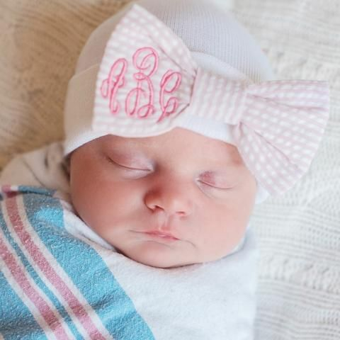 Seersucker Monogrammed Bow Newborn Girl Hospital Hat #Melondipity
