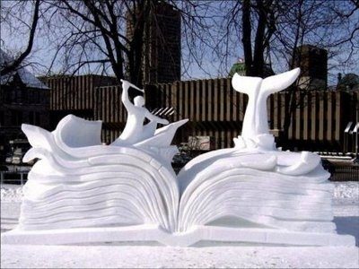 Amazing! Moby Dick featured as a snow sculpture.Snowart, Snow Sculpture, Ice Sculpture, Stories Book, Book Sculpture, Open Book, Book Design, Snow Art, Moby Dick