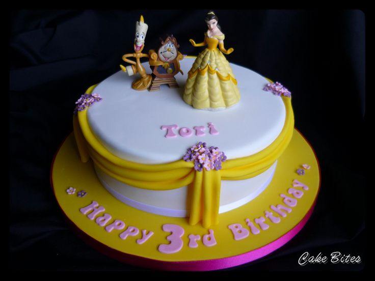 Belle birthday cake with draping and tiny push out flowers
