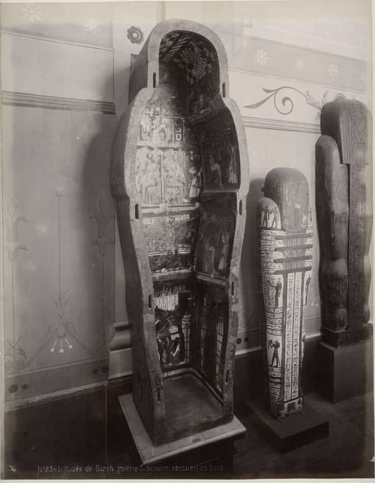 c.1880's PHOTO  EGYPT MUSEUM DE GIZEH MUMMY CASKET