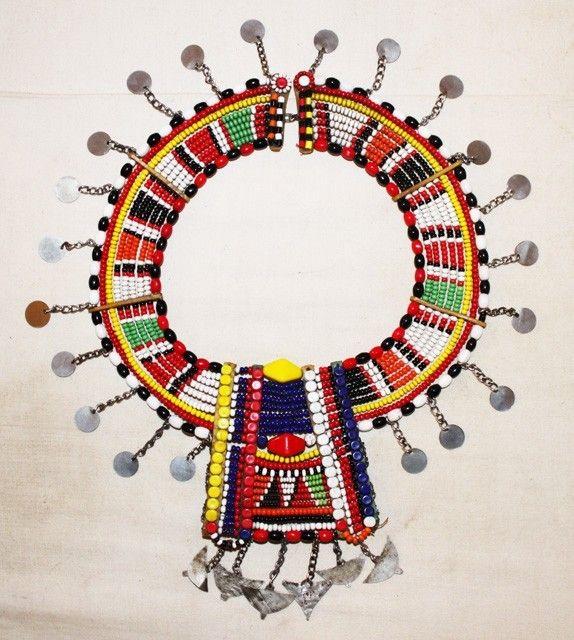 African maasai masai beaded ethnic tribal collar necklace jewelry - kenya 45