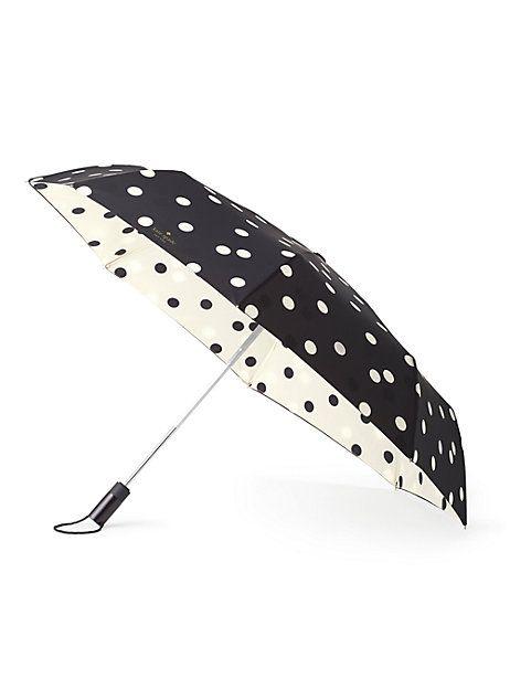 black and cream deco dot travel umbrella - Kate Spade New York