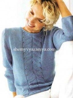 Пуловер с центральным узором листики