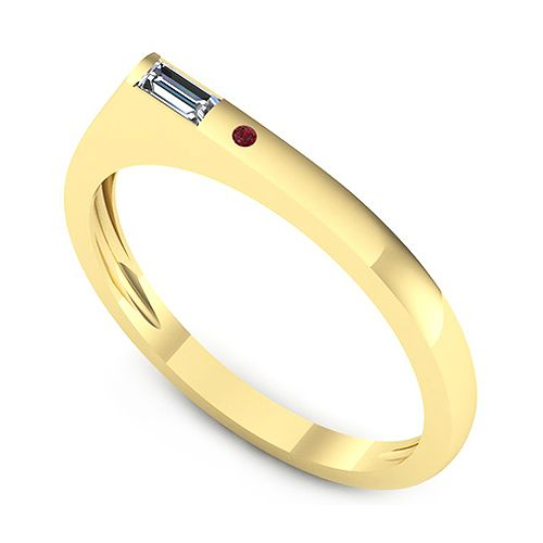 Inel logodna F45GRB * Piatra principala: 1 x diamant, dimensiune: ~3.50x1.50mmmm, greutate: 0.06ct , culoare: G, claritate: VS2, taietura: very_good, forma: straight_baguette * Pietre secundare: 1 x rubin, dimensiune: ~1.20mm, forma: round