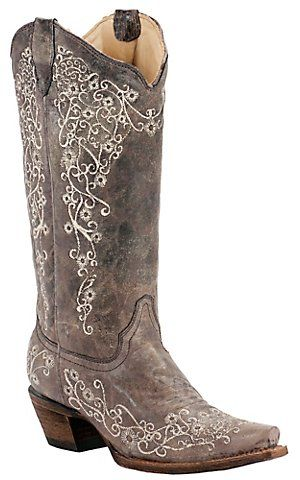 Corral® Ladies Distressed Brown w/ Bone Embroidery Snip Toe Western Boots | Cavender's Boot City