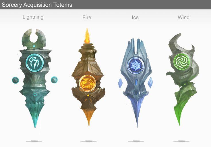 Spell totems, Dylan Scher on ArtStation at https://www.artstation.com/artwork/spell-totems