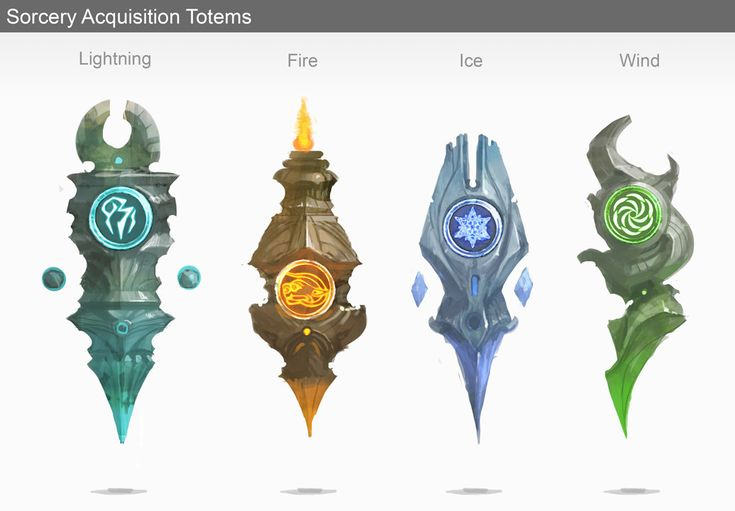 Spell totems, Dylan Scher on ArtStation at https://www.artstation.com/artwork/spell-totems
