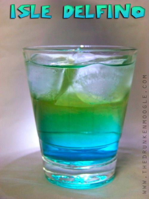 Isle Delfino:  1 shot Watermelon Vodka  2 shots Rose's Blue Raspberry Mix (Cocktail Infusions)  1/2 glass Monster Energy Drink
