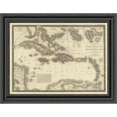 "East Urban Home 'Iles Antilles Ou Des Indes Occidentales; 1828' Framed Print Size: 16.06"" H x 22"" W x 1.5"" D"