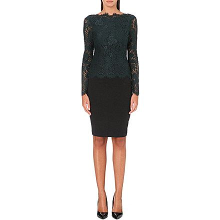 TED BAKER Long sleeved lace panel dress (Olive