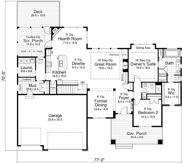 This is my second favorite, very open.  Use hearth room as the breakfast room/casual dining room.  Raise hearth off the floor.  Extend pantry back over the stairs?  Swap frig and oven and add a pantry wall next to the frig?  Move island farther out to about five feet from cooking area for better traffic flow for helpers.