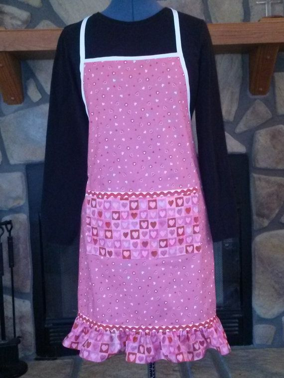 Pink Valentine themed apron. by SewVeryBerry on Etsy