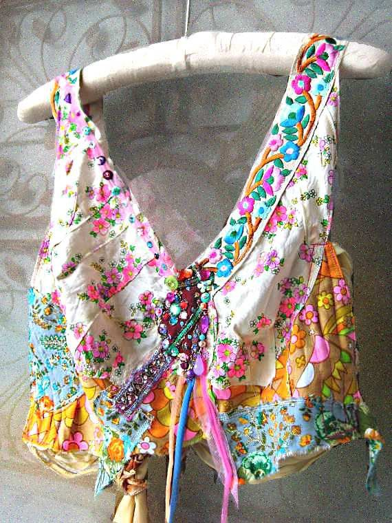 Exotic Sultry Crop Top Silk Embroidery Vintage by AllThingsPretty