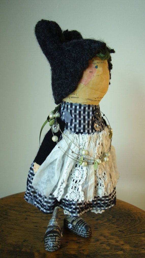 Miki Ono hand made paper mache black dressed doll by mikionostudio