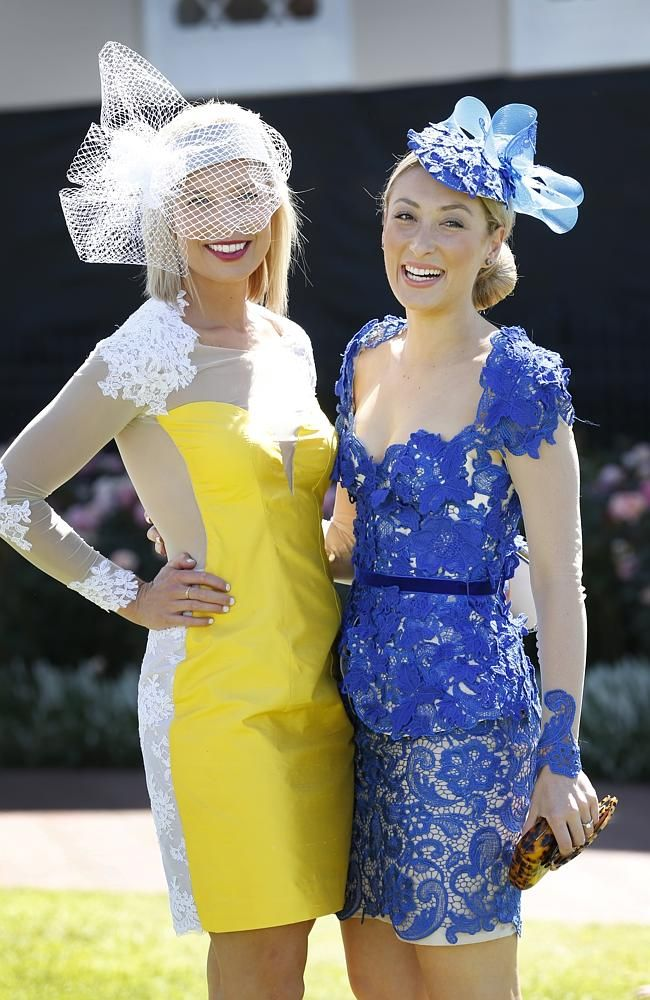 Lucy Polkinghorne and Stephanie Cocco, both from Adelaide. BOLD, colourful and fun has been the brief for the fashion flock at Flemington for the iconic Melbourne Cup.